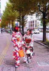 Enjoy a stroll around the town in a kimono.