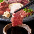熊本から毎日届く、新鮮な馬刺し。甘めの醤油とよく合います!