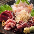 極新鮮!!みやざき地頭鶏を刺身で提供(レバ・砂ずり・ささ身)
