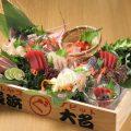 新鮮な魚介を使った%0Aトロ箱盛り!