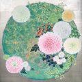 「環の中のぽんぽん菊」 和紙に岩絵の具 2019制作 ©kaorukan