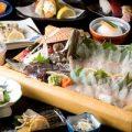 九州ならではのお魚、食材を使った会席コース。3000円〜。