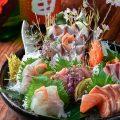 毎朝、長浜市場から直送される新鮮なお刺身の数々。