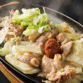 【辛味噌鶏鉄板】ピリッと辛い味噌と鶏の旨みが合わさって◎